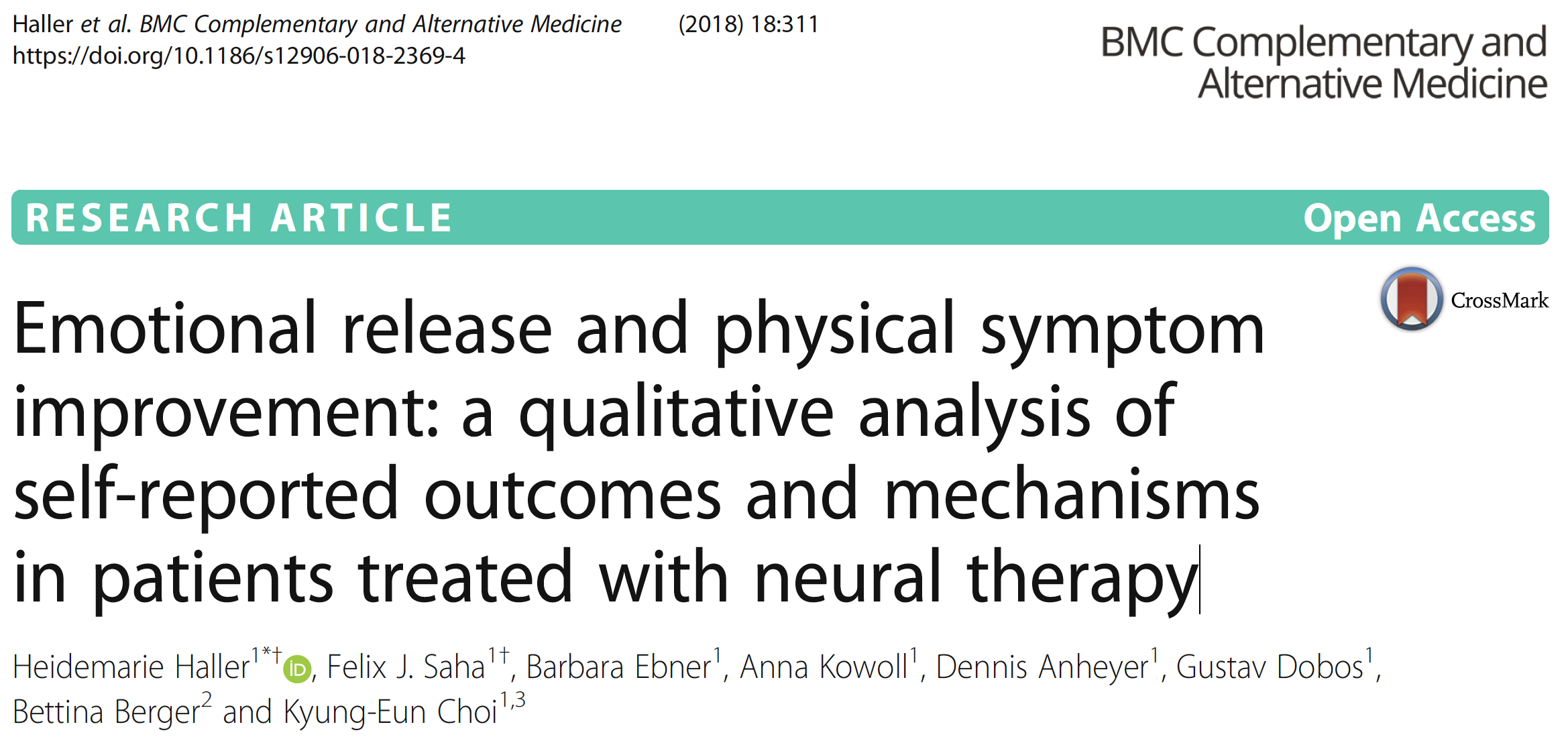 EMOTIONAL RELEASE QUALITATIVE ANALYSIS NEURAL THERAPY